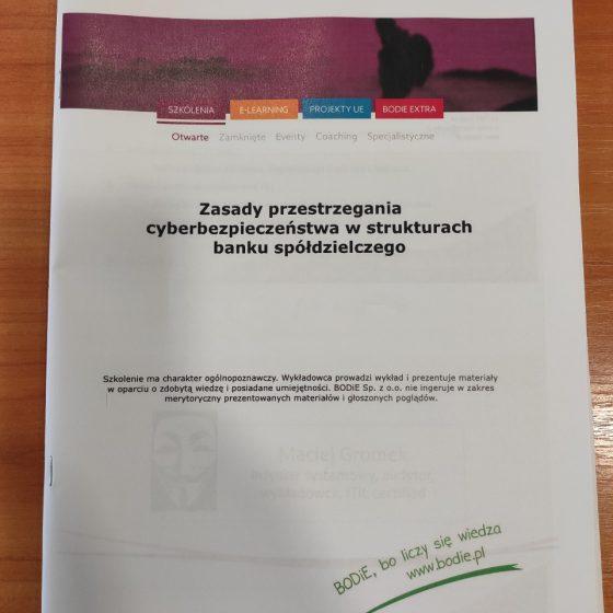 Szkolenie Zasady Przestrzegania Cyberbezpieczeństwa w Strukturach Banku Spółdzielczego Servus Comp